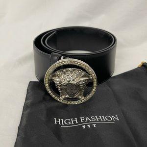 Versace crystal medusa head belt